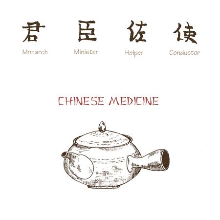 Ginseng sketch on white background. Medicinal plant. Vector illustration