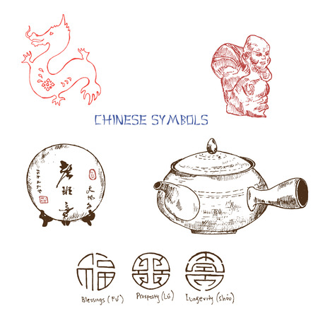 Chinese symbols of luck, prsperity and longevity, red dragon and tea kettle. Travelling China. Colored ink pen illustration for brochures.