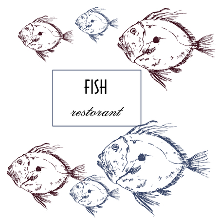 Seafood restaurant vector poster or menu Ilustração