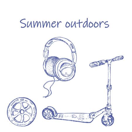 Hand-drawn sketch of retro scooter. Ink pen set of scooter,wheel and headphones. Vector illustration for vintage cards.