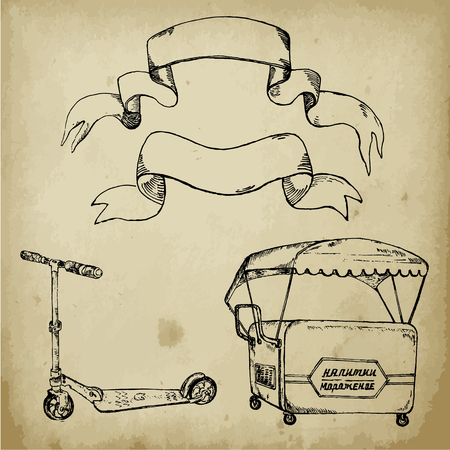 Hand-drawn sketch of retro scooter. Ink pen set of scooter, ice cream trolley and banners on grundge background. Vector illustration for vintage cards. Ilustração