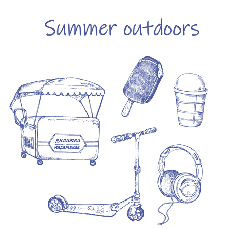 Retro hand-drawn summer entertiment sketch . Ink pen set of scooter, ice cream trolley and headphones. Vector illustration for vintage cards.