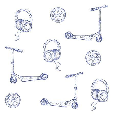 Pattern of hand-drawn sketch of retro scooter. Ink pen set of scooter,wheel and headphones. Vector illustration for vintage cards or backgrounds.