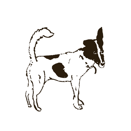 Funny dog terrier standing. Isolated on white hand drawn sketch