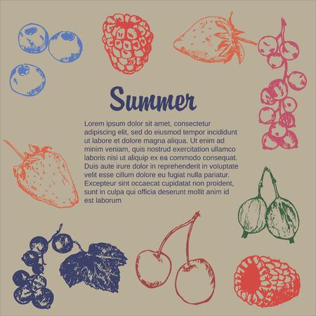Wild berry drawing. Hand drawn vintage vector frame. Summer fruit set of strawberry, cranberry, currant, cherry, srawberry, blueberry. Detailed organic food template for menu, jam label, tea banner Ilustração