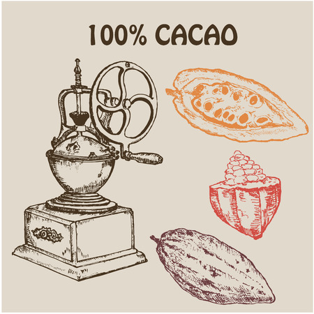 Coffee retro hand grinder with cocoa fruits, ground coffee and seeds. Hand drawn Vector Illustration. Ink pen sketch for menus, cards and templates Ilustração