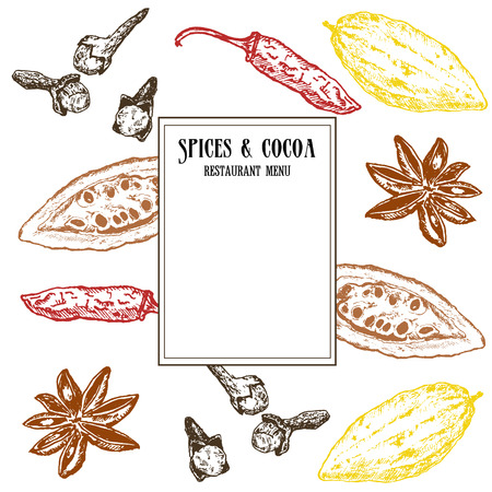 Vintage vector template of colored cocoa beans and spices. Cloves, cardamone, chili pepper and seeds. Hand drawn pattern. Ink pen sketch for menus, cards and templates