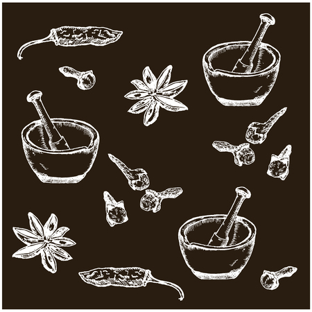 Hand drawn sketch spices set black on white. Hot pepper, cardamon, cinnamon and cloves. Spices vector pattern in vintage style. Ilustracja