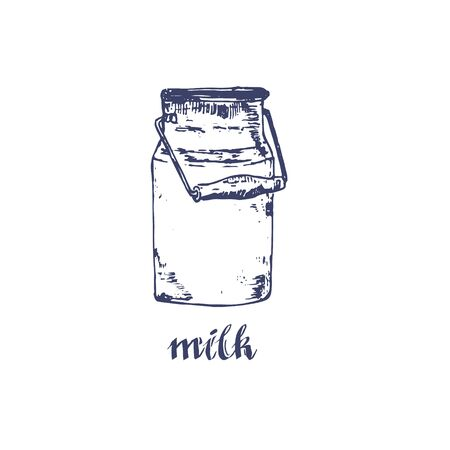 Vector image of milk bottle or milky can. Sketch agricultural illustration in the style of engraving for milk farm emblem. Ilustração