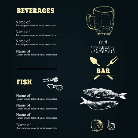 Beer sketch vector elements in black chalk board or menu. Drawing hand drawn items, beer bottle and mug, sardines onion, garlic and beer house. Ilustração