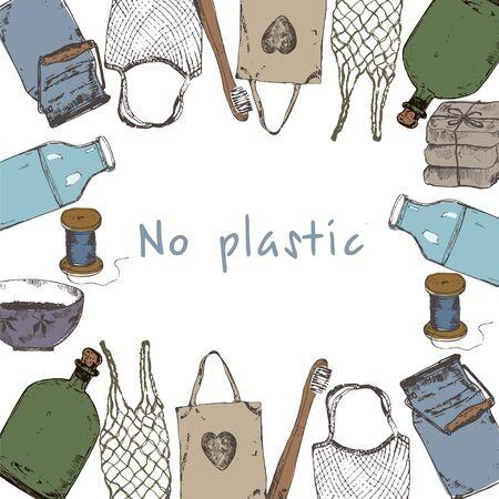 Eco packaging and zero waste sketch. Ilustração