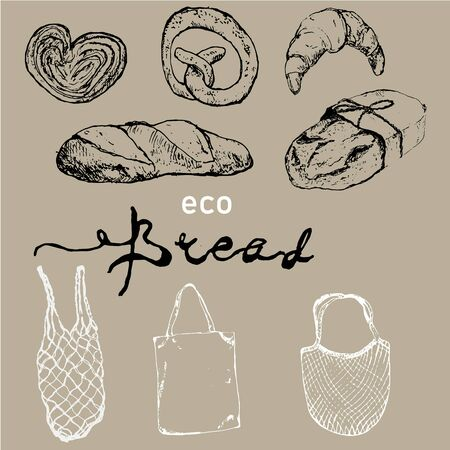 Organic bread house sketch poster of baked bread. Vector illustration for eco baker shop of organic fresh wheat bread bagel or rye loaf and wheat ears sheaf with eco bags.