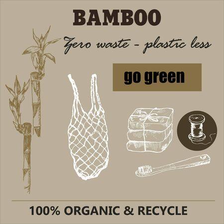 Eco bamboo and zero waste sketch. Ilustração