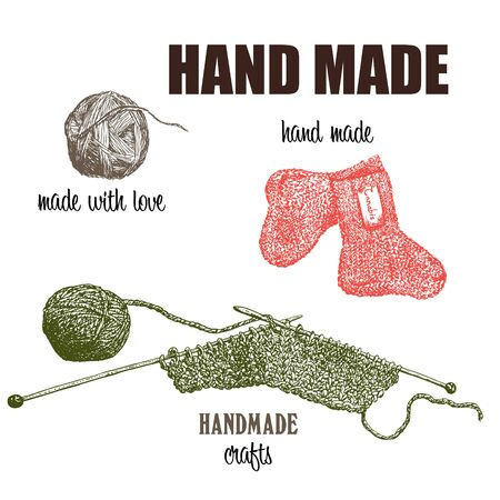 Hand made of ecological textile vector illustration. Knitting from wool or cannabis yarn and threads. Eco concept of hand made textile. Ilustração