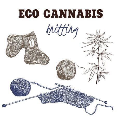 Yarn made of cannabis vector illustration. Knitting from cannabis yarn and threads. Eco concept of future organic and ecological textile and materials. Socks, eco plant and woolen balls.