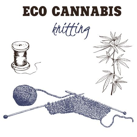 Yarn made of cannabis vector illustration. Knitting from cannabis yarn and threads. Eco concept of future organic and ecological textile and materials. Ilustração