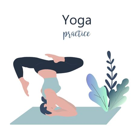 Yoga girl vector illustration. Yong women doing yoga upside down pose, meditation and asana. Different poses of yoga, exercises for healthy lifestyle. Workout in the gym and at home.