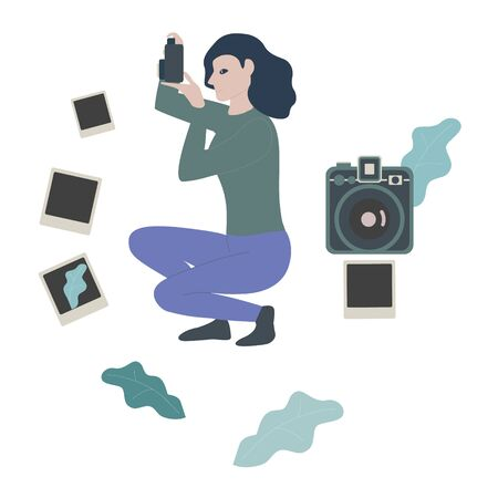 Young girl photographer holding photo camera and photographing vector illustration. Creative profession or occupation.Female cartoon character takes photo shot. Flat style.