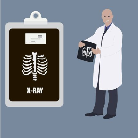 Male doctor surgeon with x-ray photo and medical clipboard vector illustration. Doctor man showing x-ray clipboard to prescribe your personal message or advice.