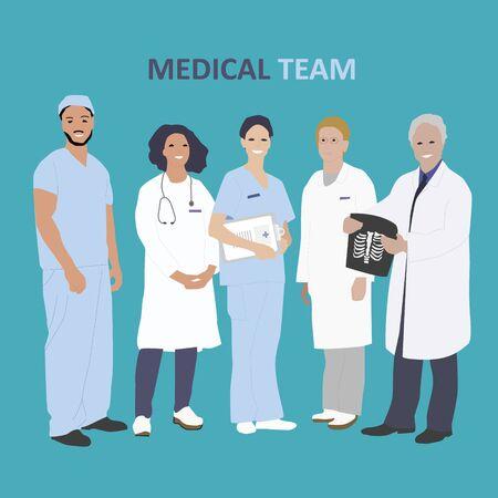 Médecins et personnel médical de l'hôpital illustration vectorielle. Équipe médicale professionnelle et médecins médecins avec stétoscope et radiographie. Vecteurs