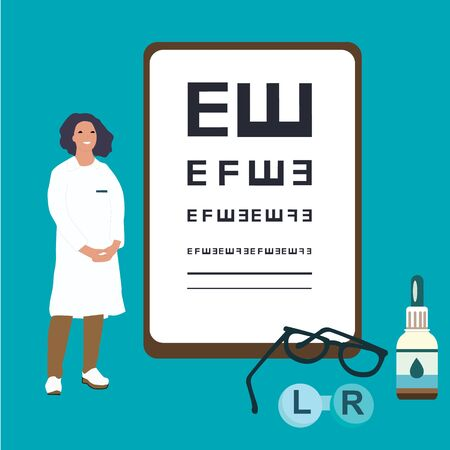 Ophthalmologist female doctor analysis eyewear vector illustration. Oculist character test eye drop. Medical eye check and treatment. Spectacles, lenses and eyedrops medicine.