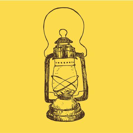 Vintage sketch kerosene lamp or lantern vector illustration. Ink hand drawn retro kerosene lamp on yellow background.