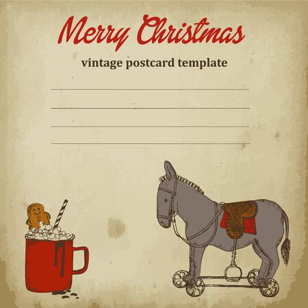 Vintage christmas postcard with retro rocking toy donkey on wheels and mug of coffee sketch vector illustration. Vintage christmas toys drawn by hands sketch ink pen on old paper background.