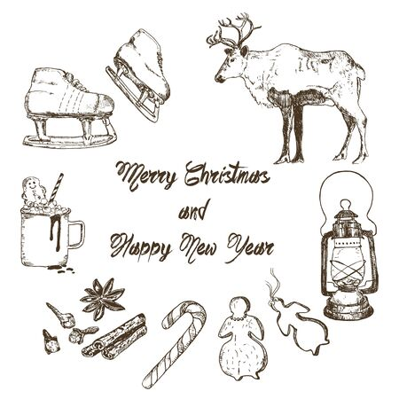 Christmas and winter holidays symbols sketch hand drawn vector elements. Christmas and New year winter with reindeer, latern, spices and mug of hot chocolate with gingerbread and skates.