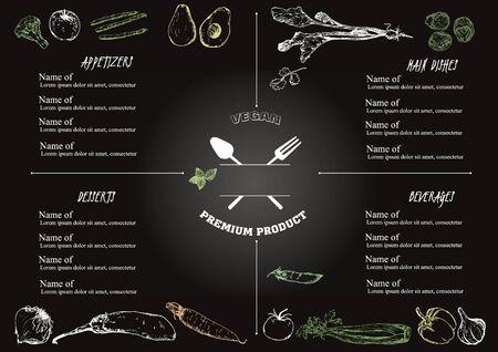 Vegetarian food white chalk sketch on blackboard restaurant or cafe menu vector design. Hand drawn eco green food vegetables menu illustration. Can be used for vegans eco food menu, invitations. Ilustração