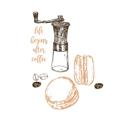 Coffee hand grinder, beans and macaroons vector hand drawn sketch poster. Banner, poster, identity, branding design for cafe menu with sketch illustration of coffee items.