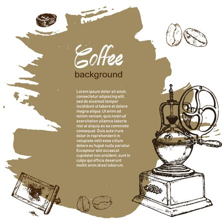 Coffee vintage hand grinder, beans vector hand drawn poster. Banner, poster, identity, branding design with sketch illustration of retro coffee objects.