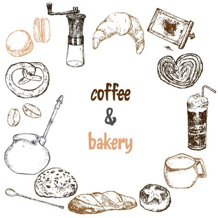 Coffee hand grinder, beans, coffee maker, mug and macaroons, bakery and croissant vector hand drawn sketch pattern. Design for cafe menu coffee items backdrop. Ilustração