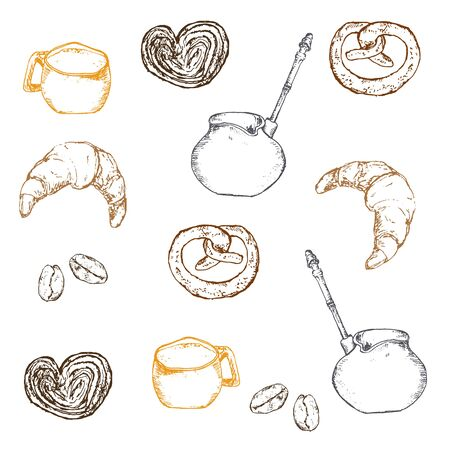 Coffee, beans and bakery vector ink pen hand drawn pattern. Sketch illustration of coffee maker, cup, coffee beans and croissant with buns.
