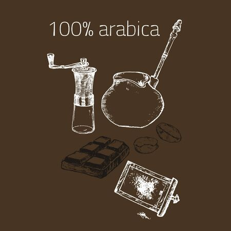 Coffee arabica vintage hand grinder, beans vector hand drawn poster. Design with sketch illustration of retro coffee objects, chocolate, 100% arabica. Ilustração