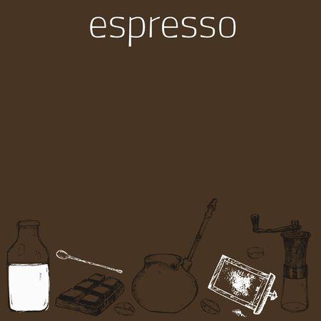 Coffee espresso and capuccino or latte hand grinder, coffee beans, milk and chocolate vector hand drawn poster. Design with sketch illustration of retro coffee objects.