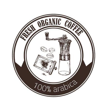 Coffee arabica vintage hand grinder, beans vector hand drawn emblem. Design with sketch illustration of organic coffee arabica. Logo or label.