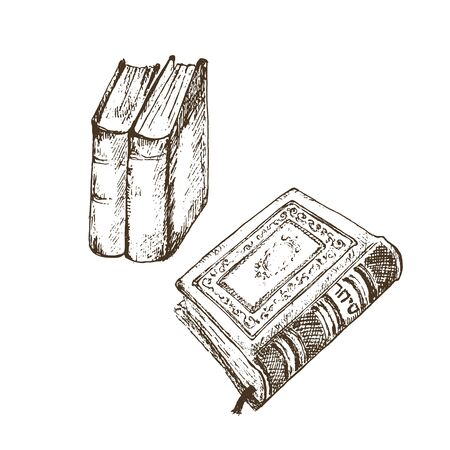 Vintage old books hand drawn sketch vector illustration. Old leather book or dairy isolated on white and standing tomes.
