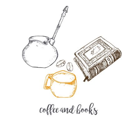 Coffee, beans, coffee maker and books vector ink pen hand drawn pattern. Sketch illustration of coffee maker, cup, coffee beans and book to read. Food and reading poster. Ilustração