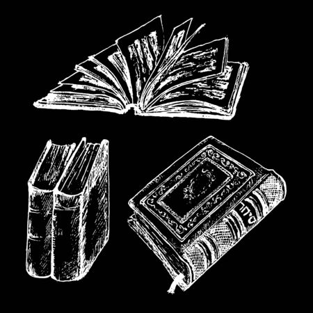 Vintage old books hand drawn sketch vector illustration. Old leather book or dairy white chalk on black background and standing tomes. Vettoriali