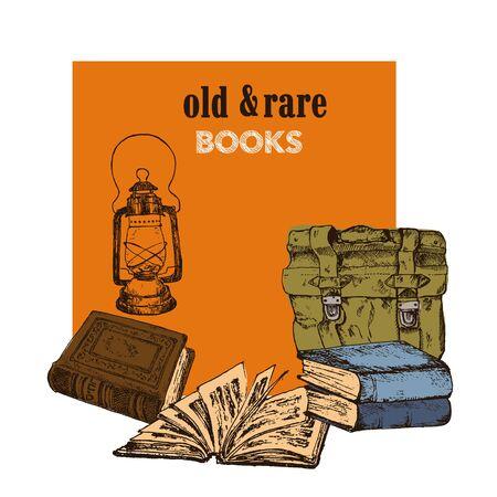 Old rare books and antiques vintage market sketch poster, vector illustration. Vintage books, antique, ancient bookmark poster for book shop fair design.