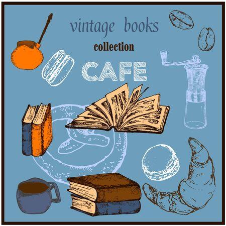 Old rare books and antiques vintage cafe poster sketch vector illustration. Vintage books, antique, ancient bookmark poster for cafe design.