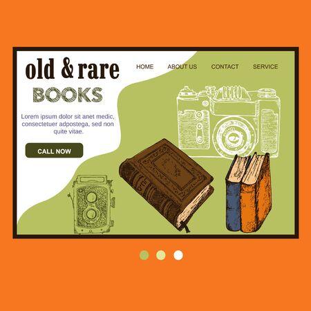 Old rare books and antiques vintage sketch vector web template. Vintage books, antique, ancient bookmark website for book shop fair design. Çizim