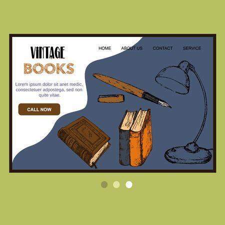 Old vintage books and antiques sketch vector web template. Vintage books, antique, ancient bookmark website for book shop fair design. Çizim