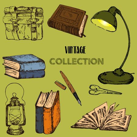 Old rare books and antiques collection vintage sketch vector illustration. Vintage books, lantern, lamp and pen antique, ancient bookmark poster for book shop fair design.