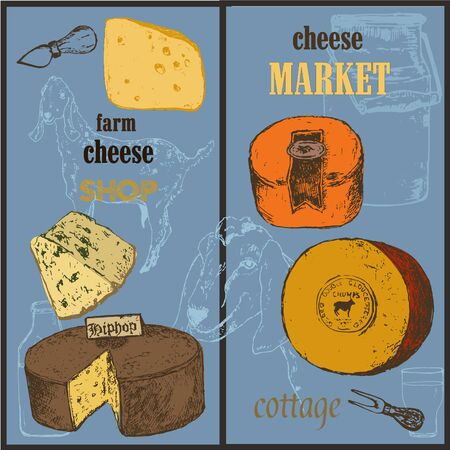 Cheese collection market sketch colored vector banners set illustration. Hand drawn sorts of cottage organic production cheeses. Eco goat milk shop or market poster.