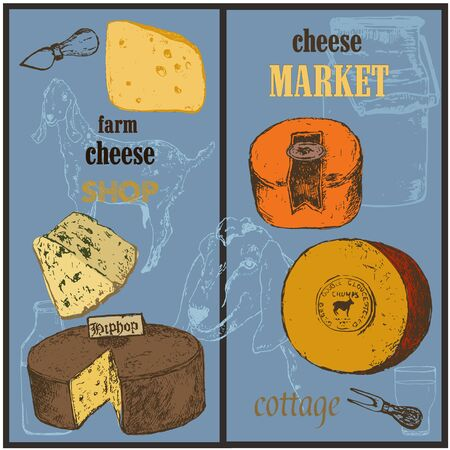 Cheese collection market sketch colored vector banners set illustration. Hand drawn sorts of cottage organic production cheeses. Eco goat milk shop or market poster or banner promotion.
