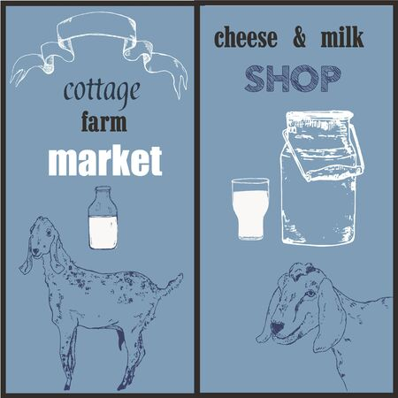 Goat, goat milk bottle, organic farm cheese and vintage banner set vector sketch illustration. Hand drawn engraving for milk farm milky products.