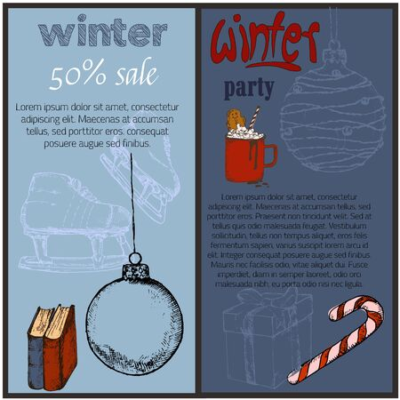 Christmas and winter holidays party and sale sketch hand drawn vector banners. Christmas and New year winter with reindeer, latern and mug of hot chocolate with gingerbread and skates.