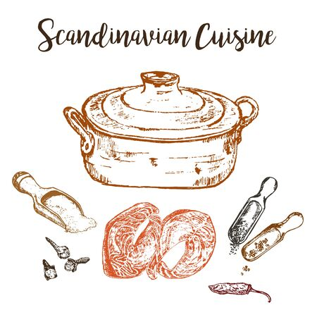 Fish soup sketch and scandinavian cuisine hand drawn vector illustration. Copper pot, salmon fish, spices. Design for scandinavian food restaurant. Taste of Norway.