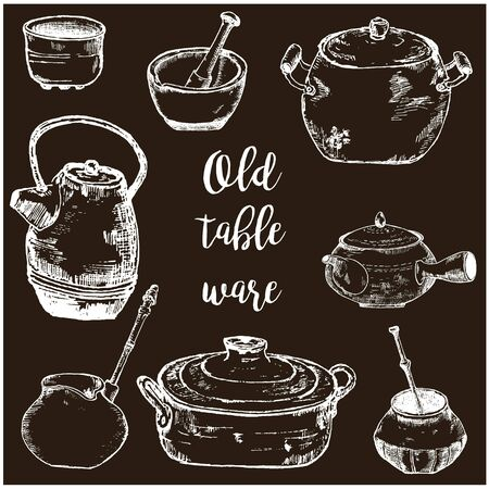 Old kitchen utensils and pots vector sketch hand drawn chalk on blackboard illustration. Copper pots, teapot and pottery, old retro tableware. Ilustracja